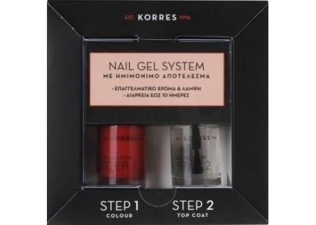 Κορρες Nail Gel System Classic Red 10 ml & Top Coat 10 ml