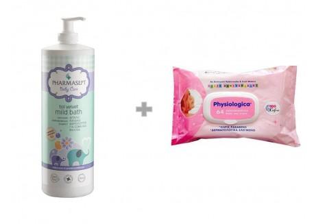 Pharmasept Tol Velvet Baby Mild Bath 1lt & δώρο Μωρομάντηλα 64 τ