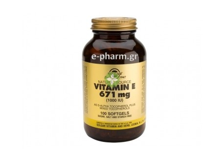 Solgar Vitamin E 1000 IU softgels  100s