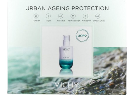 VICHY Urban Ageing Collection Slow Age SPF 25 50ml & Mineral 89 5ml & Glow Peel Mask 15ml & Slow Age Νύχτας 7x2ml