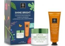 "APIVITA Promo Box ""Shine Bright"" APIVITA Bee Radiant ελαφριάς υφής 50ml & ΔΩΡΟ APIVITA Μάσκα λάμψης με πορτοκάλι 50ml"