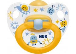 NUK Πιπίλα Φυσ. Ελαστικό Happy Kids μπλε-κίτρινη 18-36 m