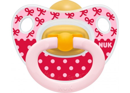 Nuk Happy Kids Πιπίλα Καουτσούκ ροζ-κόκκινη 6-18 m