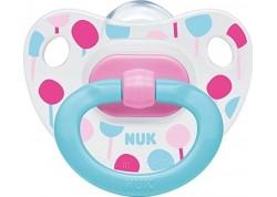 NUK Πιπίλα σιλικόνης Happy Days ροζ-μπλε 0-6 m