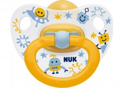 NUK Happy Kids πιπίλα καουτσούκ κίτρινη 18-36 m