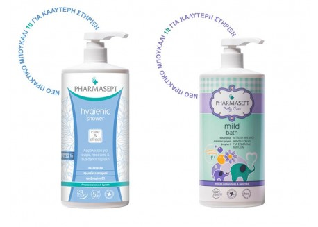 PHARMASEPT Tol Velvet Baby Mild Bath 1lt & PHARMASEPT Hygienic Shower 1lt Family Pack