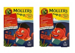 Moller's Ζελεδάκια - ψαράκια Ωμεγα-3 με φράουλα 36 τμχ 2 τεμάχια
