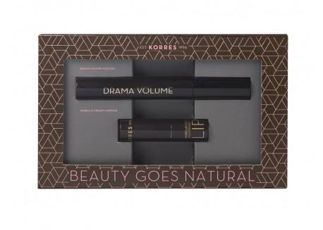 ΚΟΡΡΕΣ Mascara Drama Volume Μαύρη 11ml & ΚΟΡΡΕΣ Morello Morello Creamy Lipstick 23 Natural Purple 3.5gr
