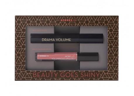 ΚΟΡΡΕΣ Mascara Drama Volume Μαύρη 11ml & ΚΟΡΡΕΣ Morello Voluminous Lipgloss 16 Blushed Pink 4ml