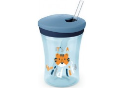 NUK Action Cup μπλε με μαλακό καλαμάκι 12m+